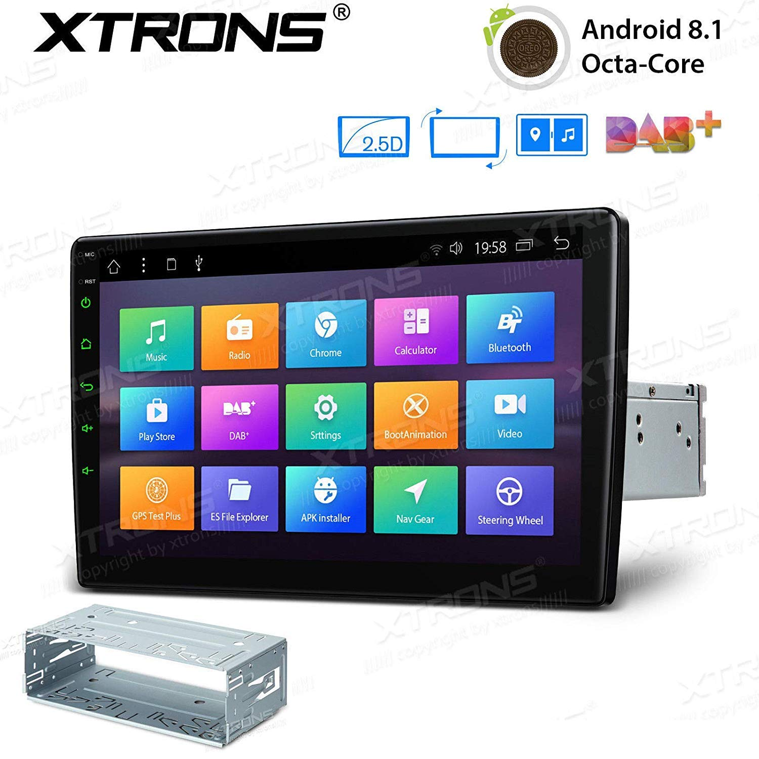XTRONS 10.1'' Android 7.1 Nougat 32GB ROM + 2GB DDR3 RAM Octa-Core Rotatable Face Panel 2.5D Curved Screen Car Stereo & Universal Single Din Stereo Fitting Cage by XTRONS