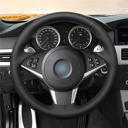 Amazon.com: Swordsman Black Artificial Leather Car Steering Wheel Cover for BMW E60 530d 545i 550i E61 Touring 2005-2009 E63 E64 630i 645Ci,Black Thread: ...