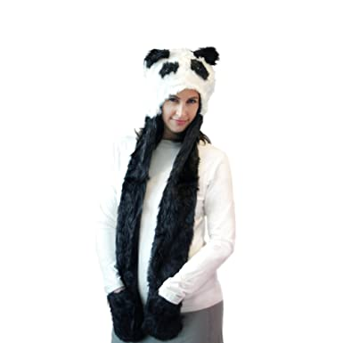 Panda Bear Long Animal Faux Fur Head Trapper Hat Hood   Scarf   Gloves all  in one Ladies   Kids Animal Hat With Scarf Warm Winter Hat With Attached  Scarf ... a8bec21aec1e