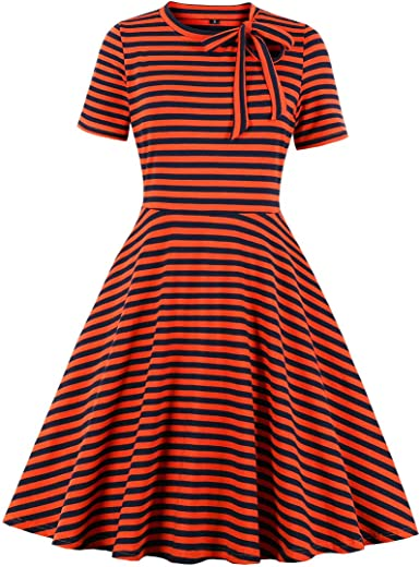 Wellwits Vestito vintage anni 50 a pois gialli da donna stile vintage