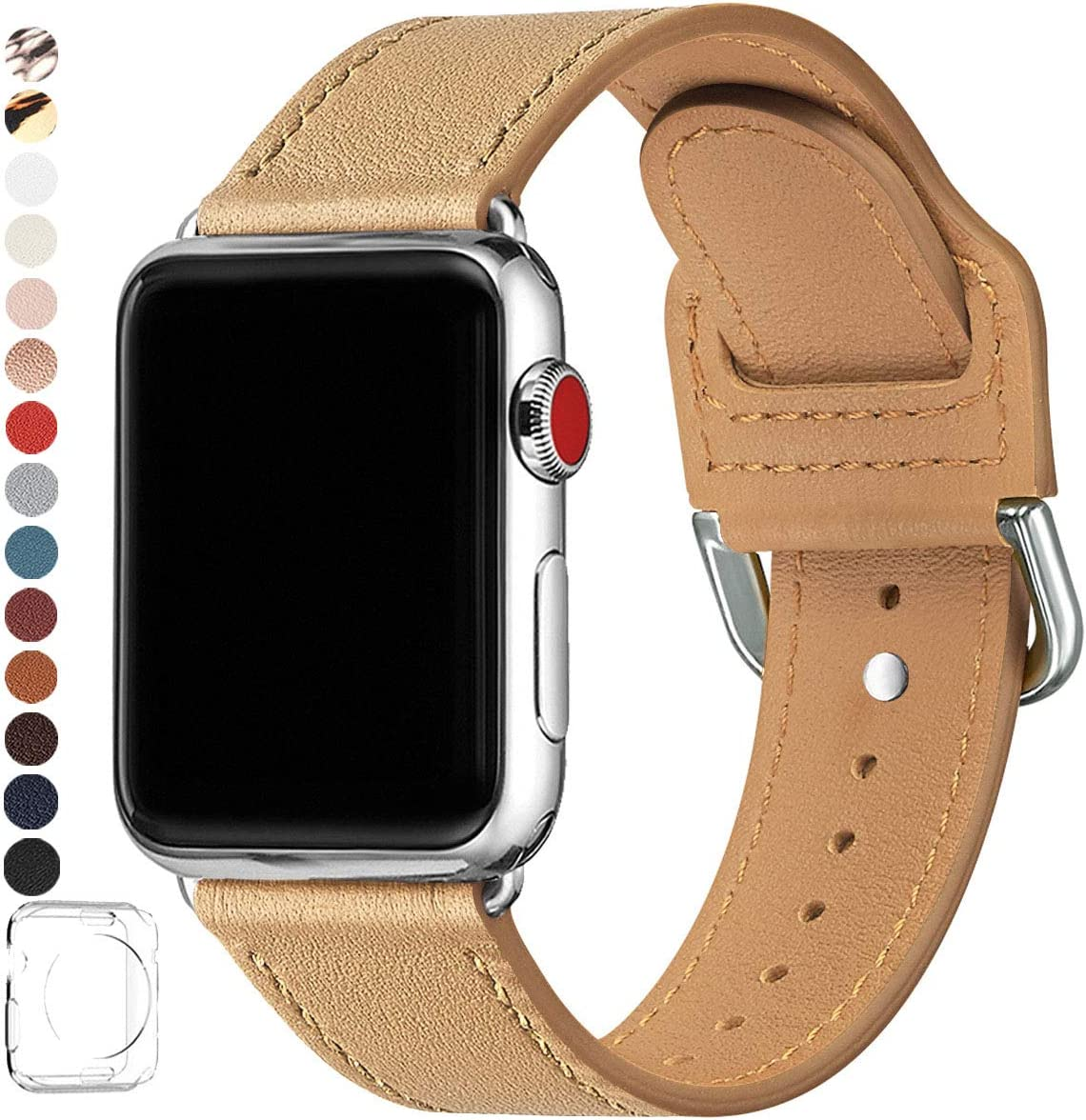 POWER PRIMACY Bands Compatible with Apple Watch Band 38mm 40mm 42mm 44mm, Top Grain Leather Smart Watch Strap Compatible for Men Women iWatch Series 6 5 4 3 2 1,SE (Light Tan/Silve,42mm 44mm)