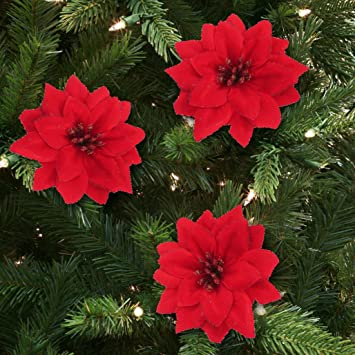 pack of 6 large 5 glitter poinsettia christmas tree ornaments