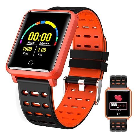 OOLIFENG Pulsera Fitness, Reloj Inteligente Con Pulsómetros, IP68 Impermeable Correr Reloj Deporte Podómetro Para