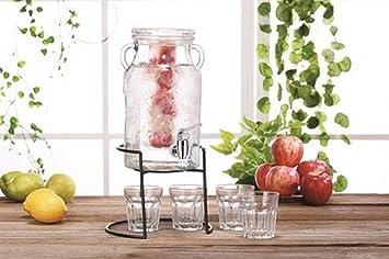 Dispensador de bebidas con grifo surtidor Dispenser a unte Juego + vasos Set: Amazon.es: Hogar