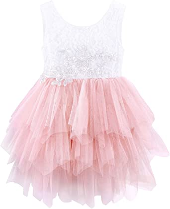 Jurebecia Girls Rainbow Unicorn Tulle Tutu Dress Birthday Party Princess Outfit Flower Lace Tulle Cake Tiered Dresses