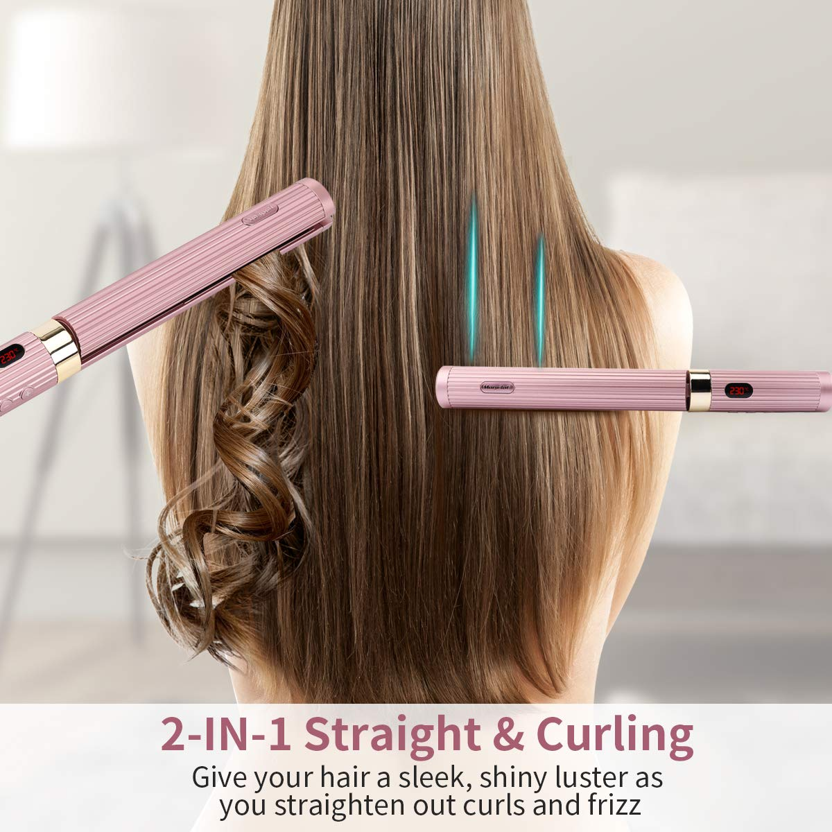 Hair Straightener, Morpilot 2-in-1 Straight & Curling Iron for All Hair Type, 3D Floating Plates Professional Salon Hair Straightener with Dual Voltage LCD Display Adjustable Temperature.