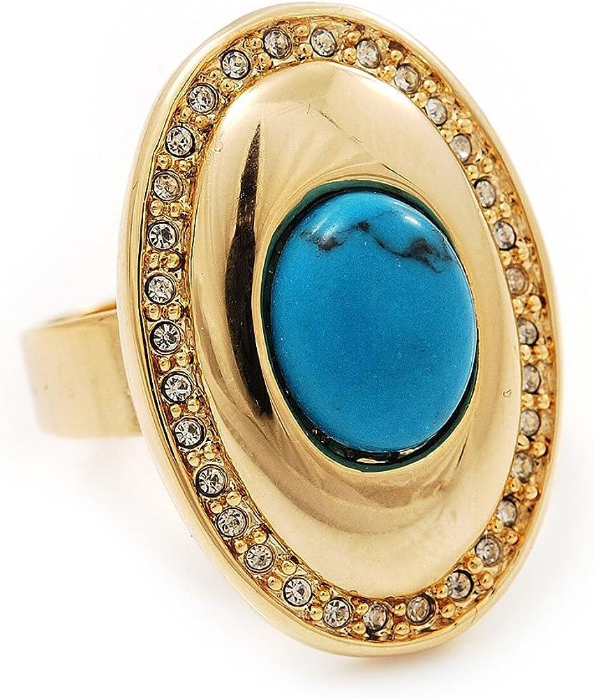 Anillo ovalado de cristal transparente, piedra turquesa en tono dorado – 25 mm de ancho – 7/8 ajustable