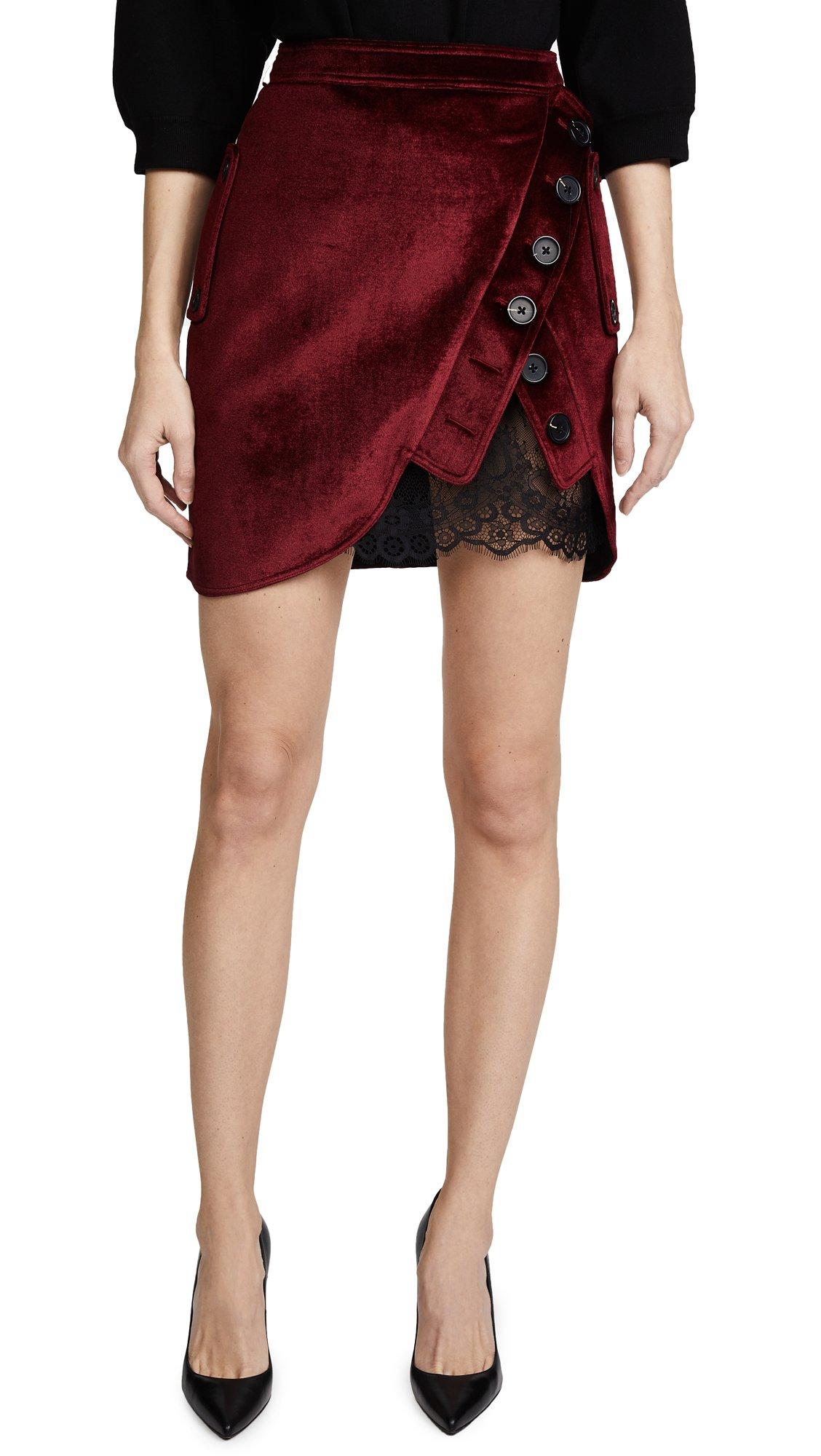 Self Portrait Women's Velvet Utility Miniskirt, Burgundy, 10