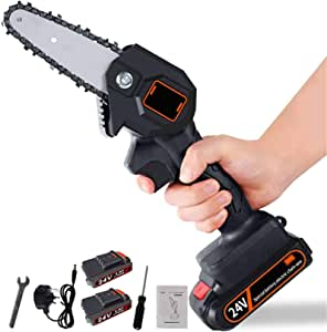 CJCGLOBAL Handheld Cordless Chainsaw with Charger and 2 Battery   Mini 4-Inch Cordless Electric Protable Chainsaw, Adjustable Cutting Speed for Wood Cutting, Tree Pruning and Garden (Black)