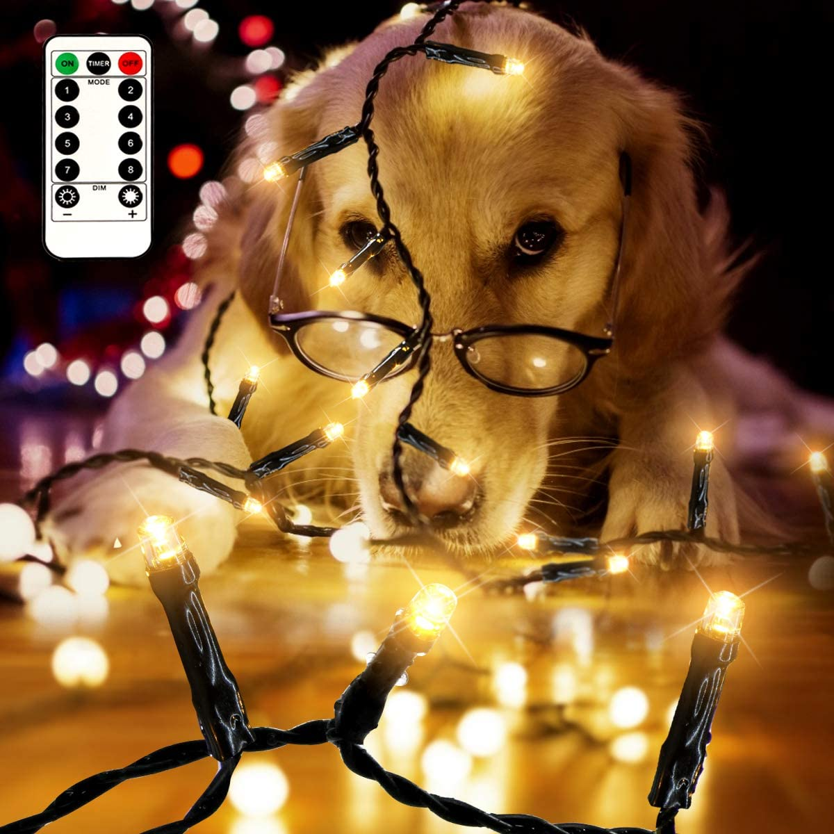 Warm White 33FT 100 LED Christmas Lights Battery Operated Wedding Decoration Party Outdoor Christmas Tree String Fairy Lights Green Wire with 8 Modes IP65 Waterproof for Garden Remote and Timer