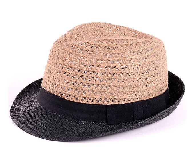 BYOS Fashion Boho Summer Straw Panama Fedora Sun Hat Wide Brim ... c800500296c