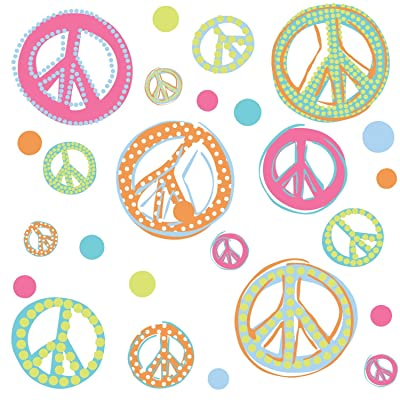 RoomMates Peace Signs Peel and Stick Wall Decals with Glitter: Home Improvement