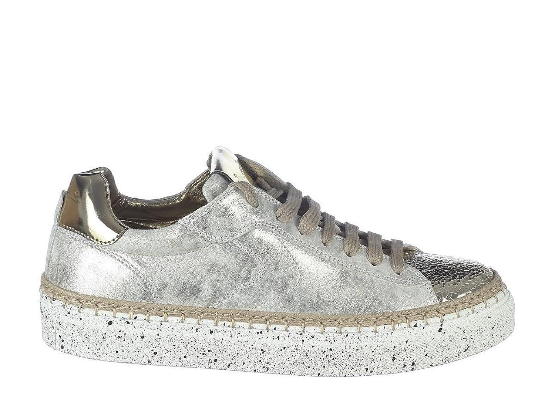 Voile Blanche Scarpe Sneaker Donna Panarea Crack Lame-Vit 9127 Platino-Avorio Primavera Estate 2018 39