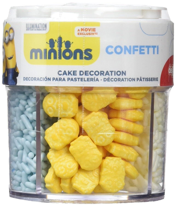 Dekora - Bote de Confetti Surtido de Minions de Azúcar para Decoración de Pasteles de Cumpleaños