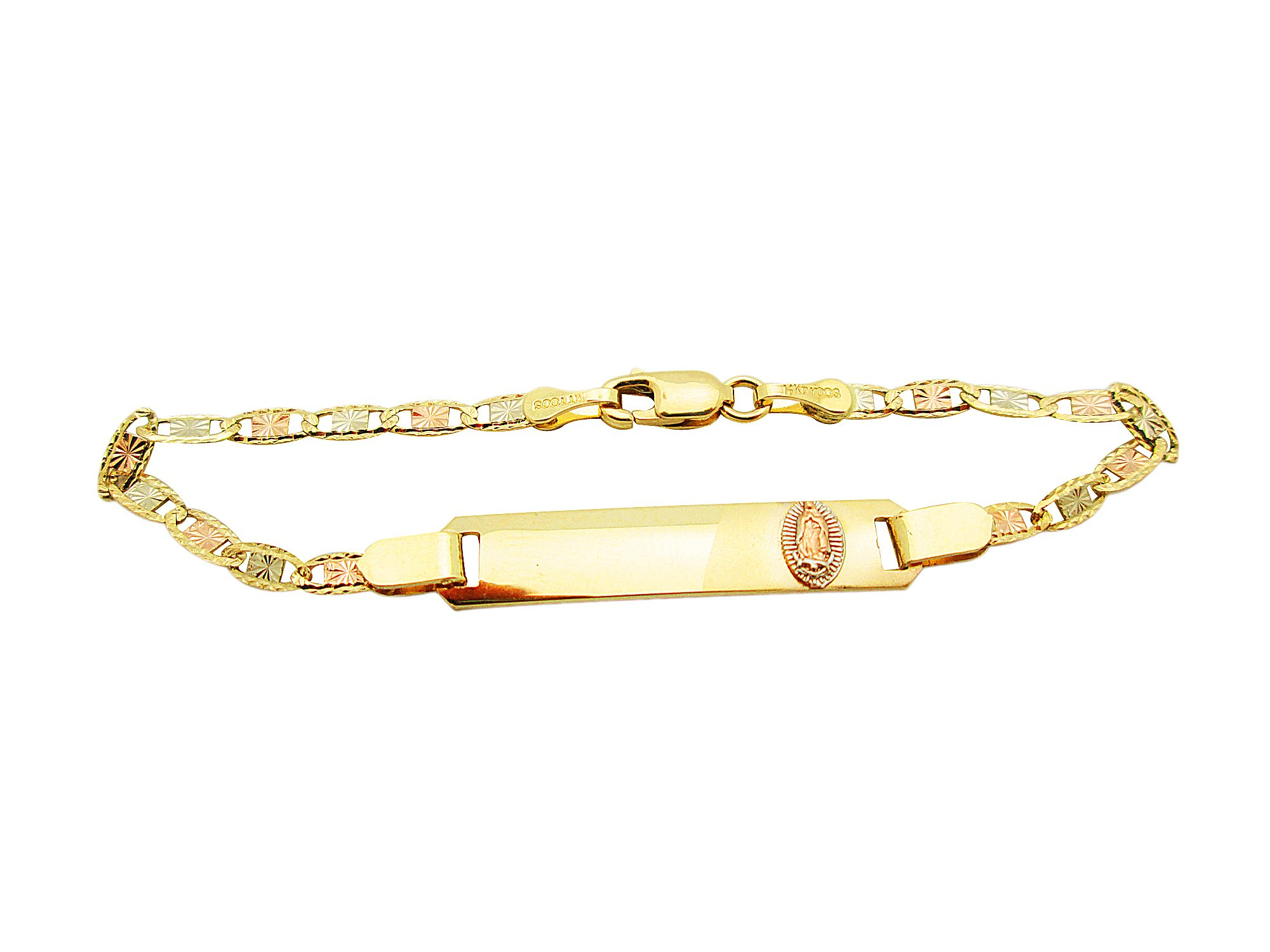 Children Babies 14k Tri Color Gold Valentino link ID Bracelet With Guadalupe 5.5 inch by AMZ Jewelry