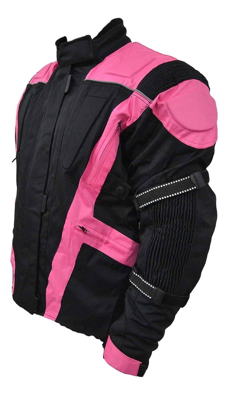 New Womens Black /& Pink Turin Waterproof /& Armoured Motorbike Jacket UK 10 to UK 26