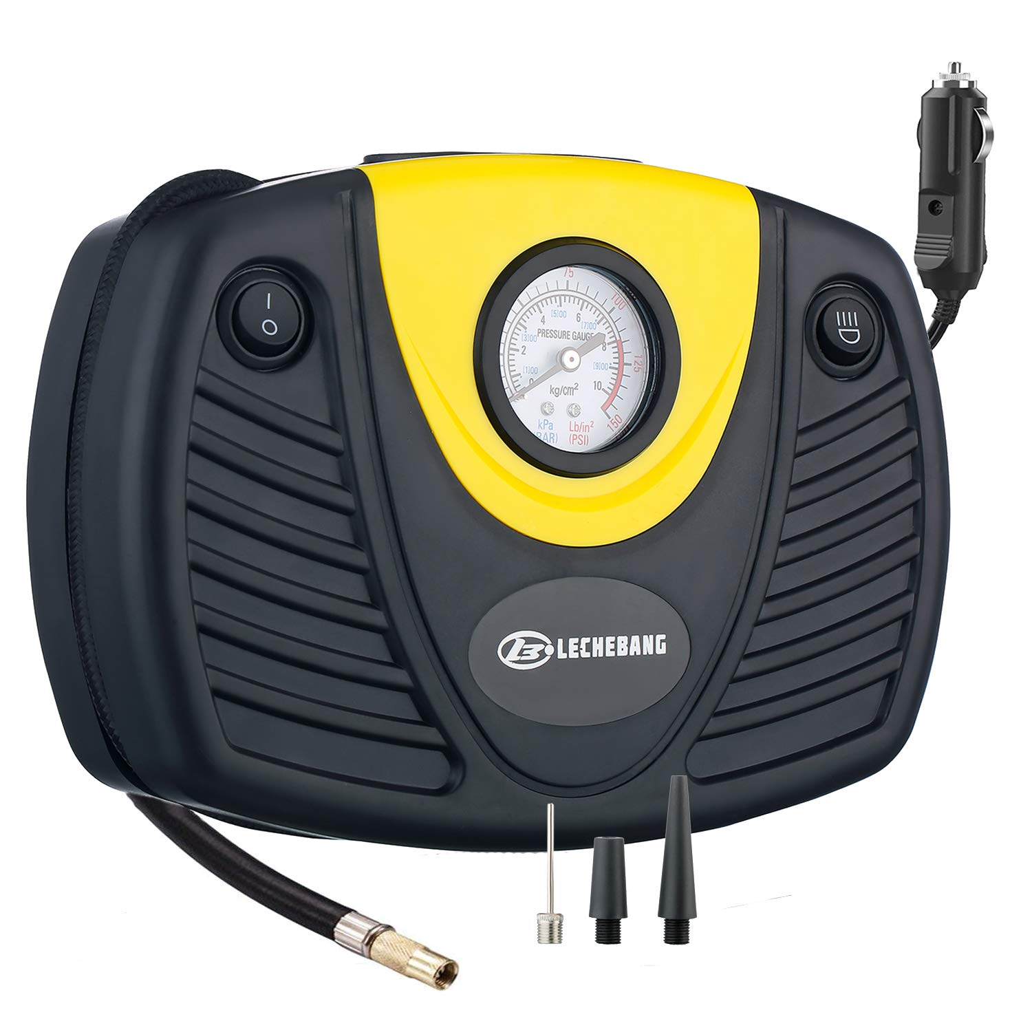 LB LECHEBANG Air Compressor Pump Auto Digital Tire Inflator 12V 150 PSI with Emergency Led Light, 3 High-air Flow Nozzles Adapt for Cars Bicycles and Basketballs (Black and Yellow) Xin Yi Bang Ltd.