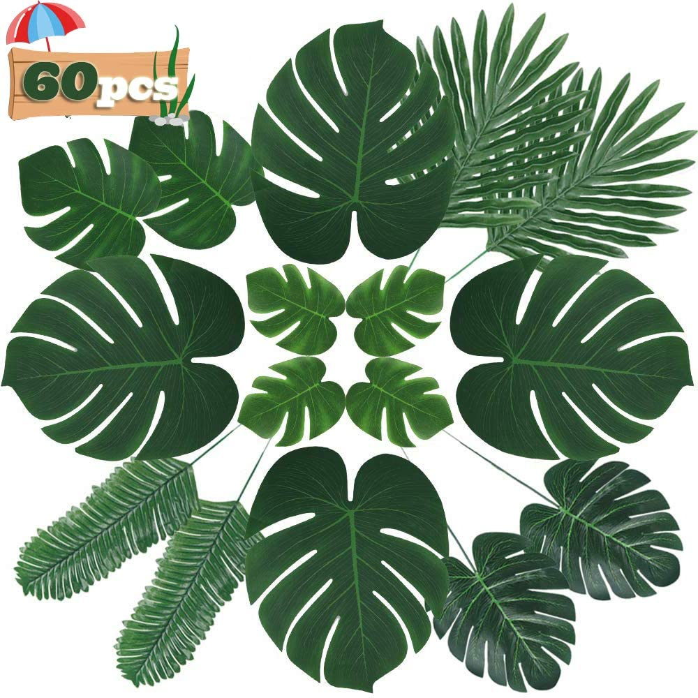 Fake Leaves 60 Pcs Artificial Leaves Tropical Palm Leaves Monstera Leaves with Stems for Safari Decorations Tropical Party Supplies Jungle Beach Luau Theme Party Decorations (6 Kinds)