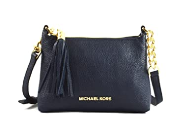 c8619cbf9f8e Michael Kors Bedford Pebbled Leather Tassel Crossbody Navy Gold  Handbags   Amazon.com