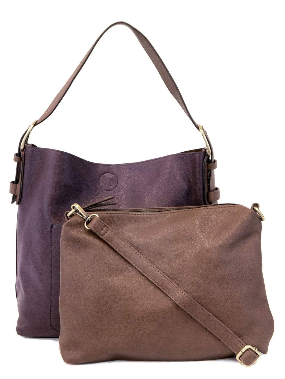 Joy Susan Women's Hobo 2-in-1 Handbag With Coffee Handle, Eggplant/Coffee, One-Size by Joy Susan