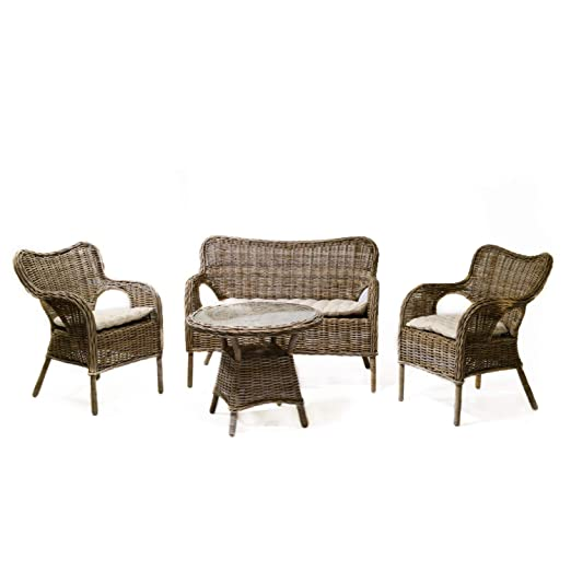 adami Juego de salón de jardín 2 sillones Mesa sofá de ratán ...