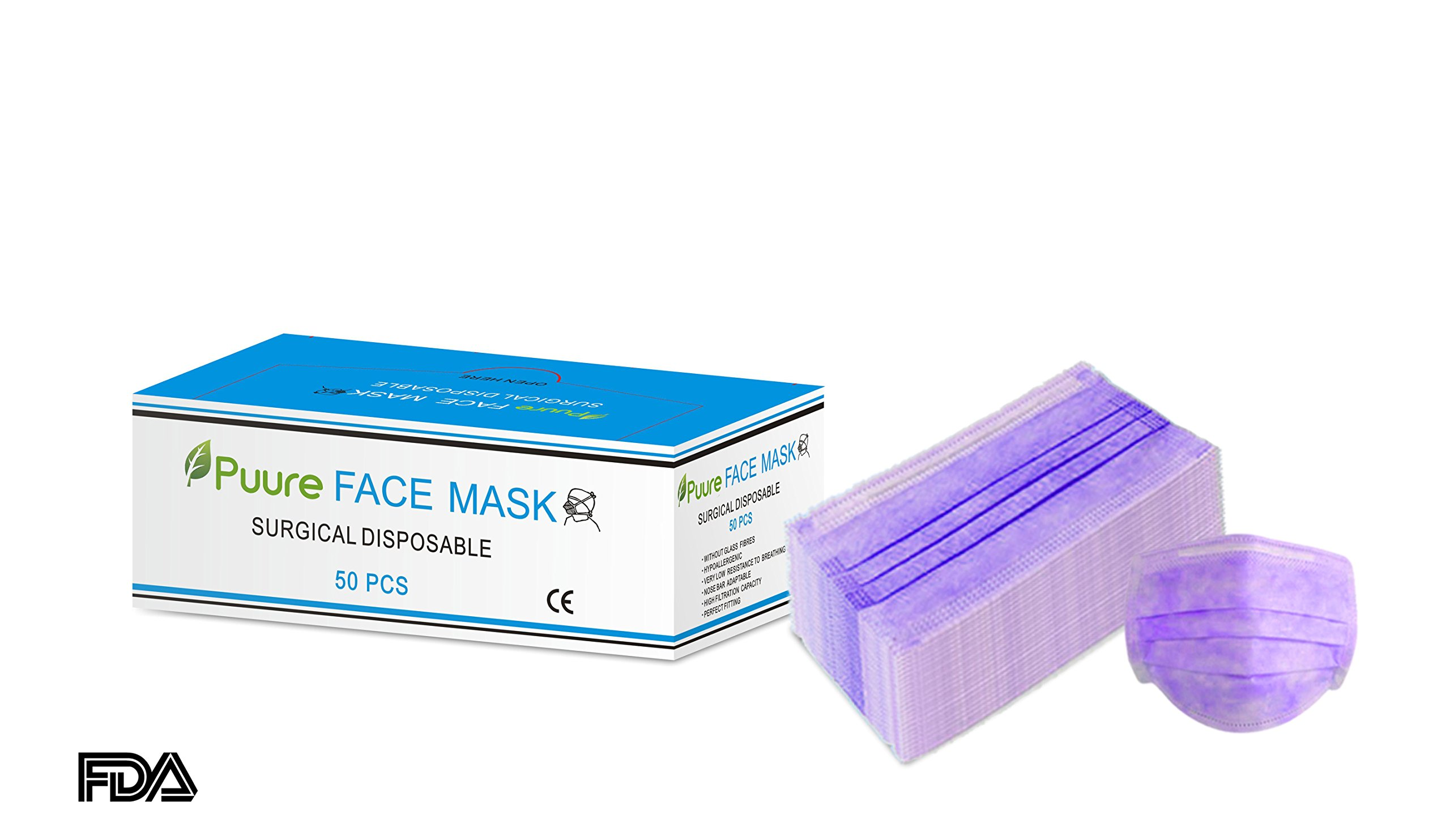 PUURE Best quality earloop Disposable Surgical Face Flu Masks, 3+1(Filter layer) Ply Thicker Super Filter Pollen Dust and Bacteria, Anti allergy Dental Medical Procedure Mask, Pack of 50 Pcs (Purple)