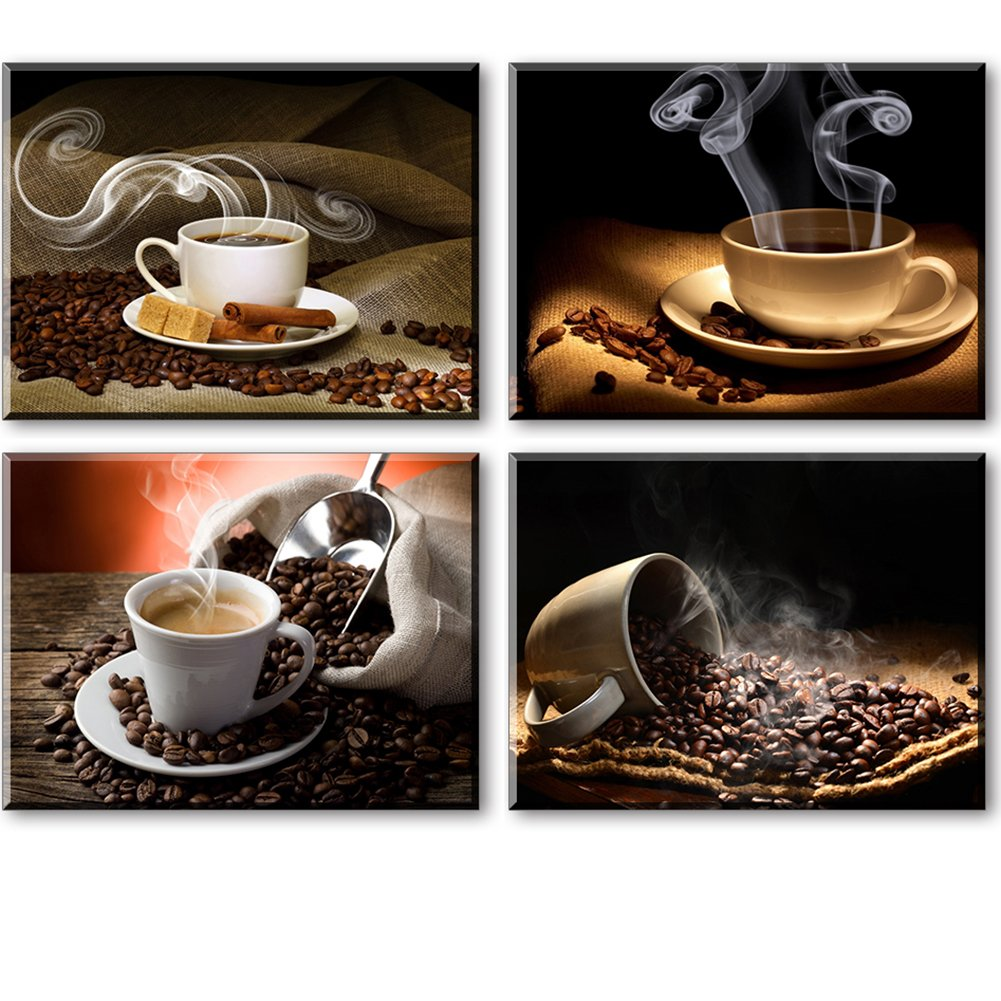 """Coffee Theme Kitchen Decor, SZ 4 Piece Hot Coffee Beans Picture Canvas Wall Art, Contemporary Canvas Prints (Waterproof Artwork, Bracket Mounted Ready to Hang, 1"""" Thick)"""