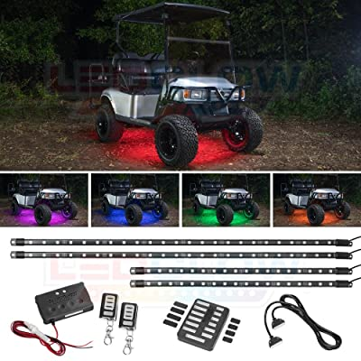 LEDGlow 4pc Million Color LED Golf Cart Underglow Accent Neon Lighting Kit for EZGO Yamaha Club Car - Fits Electric & Gas Golf Carts - Water Resistant - Includes Control Box & Wireless Remotes: Automotive