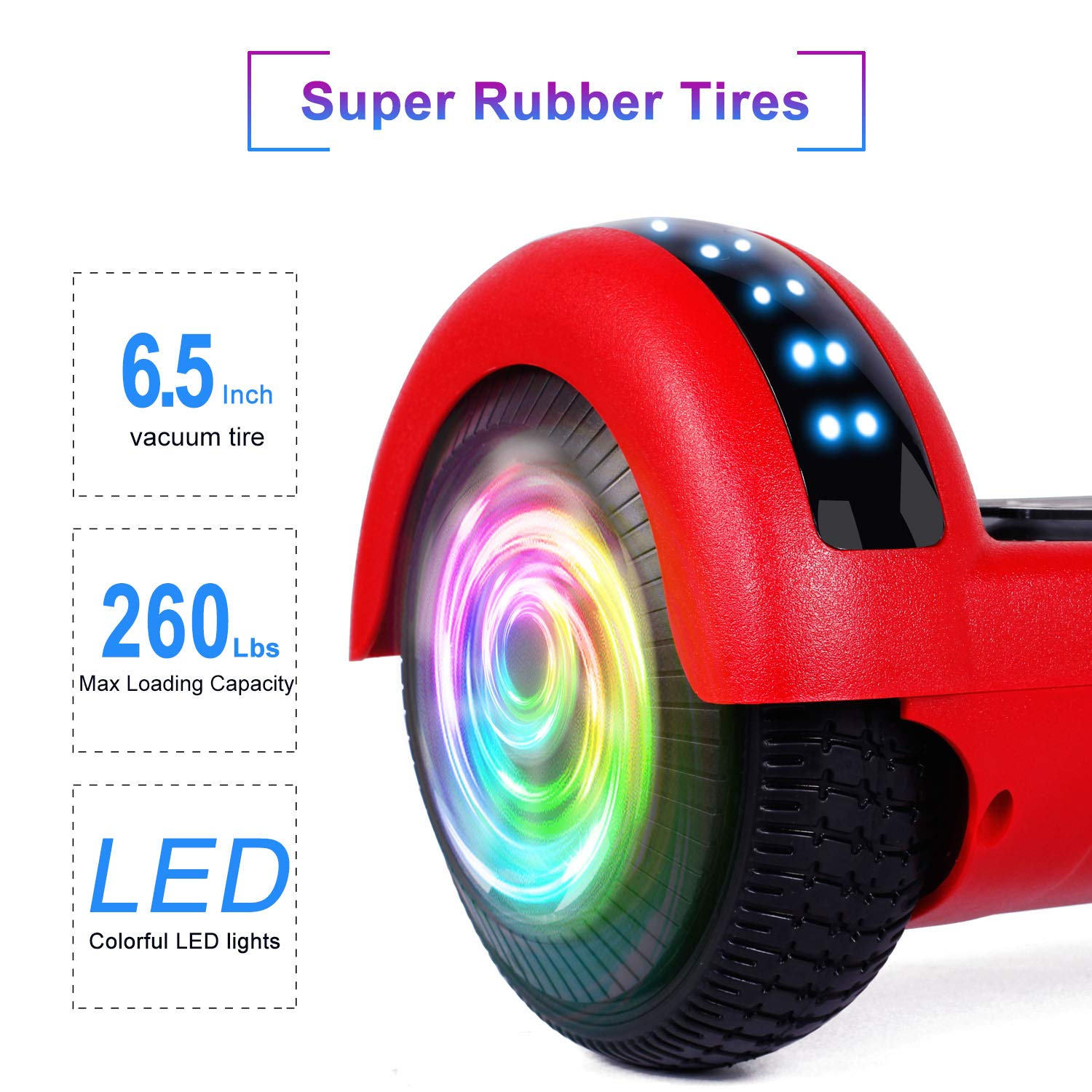 "SISIGAD Hoverboard 6.5"" Self Balancing Scooter with Colorful LED Wheels Lights Two-Wheels self Balancing Hoverboard Dual 300W Motors Hover Board UL2272 Certified(Free Carry Bag Available) by SISIGAD (Image #4)"