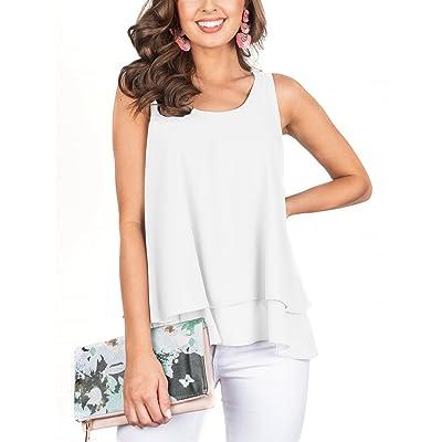PRETTODAY Women's Sleeveless Layered Tank Tops Round Neck Blouses Summer Chiffon Shirts at Women's Clothing store