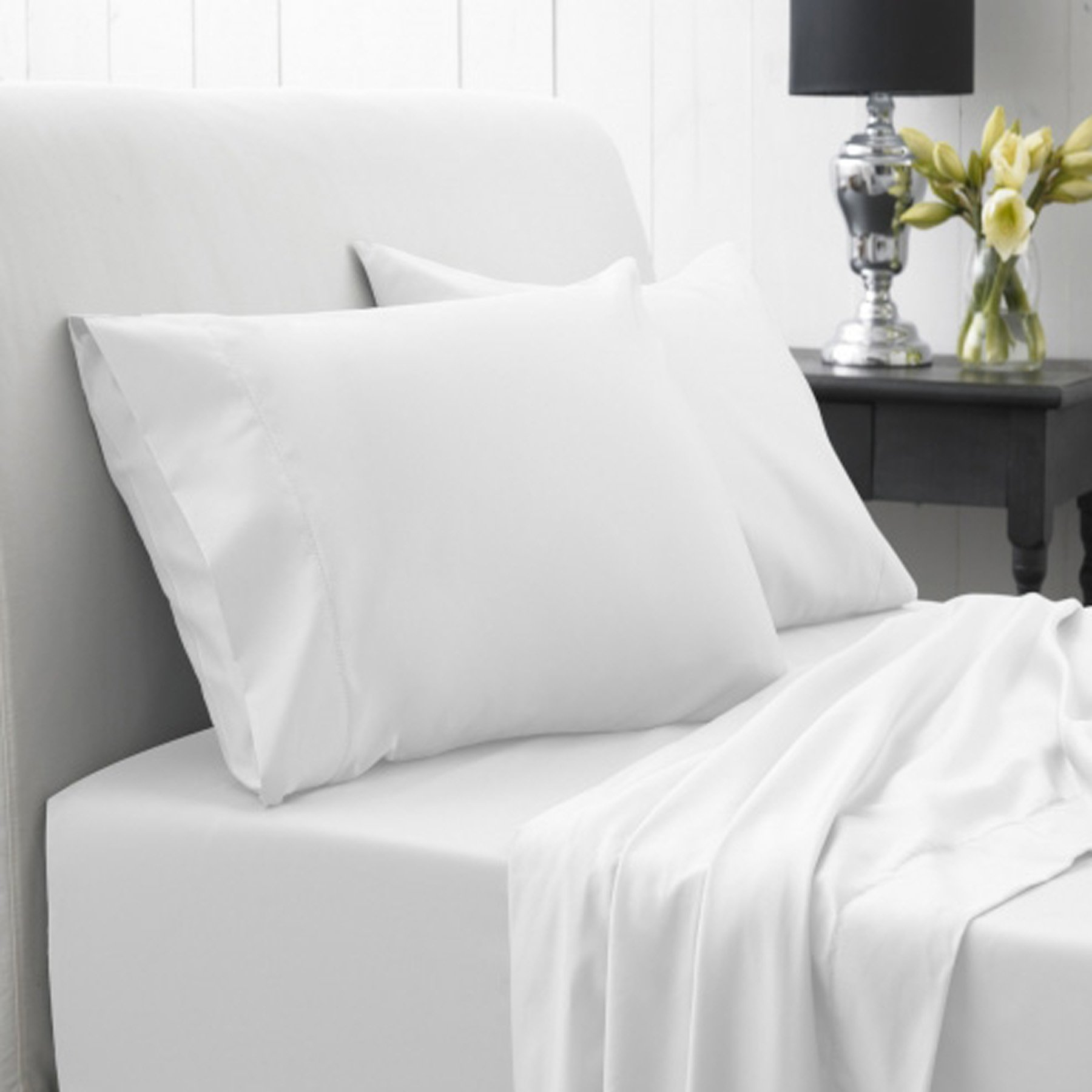Spa 3 Piece Duvet Cover Set- 85%polyester, 15%cotton- King Size, White Color
