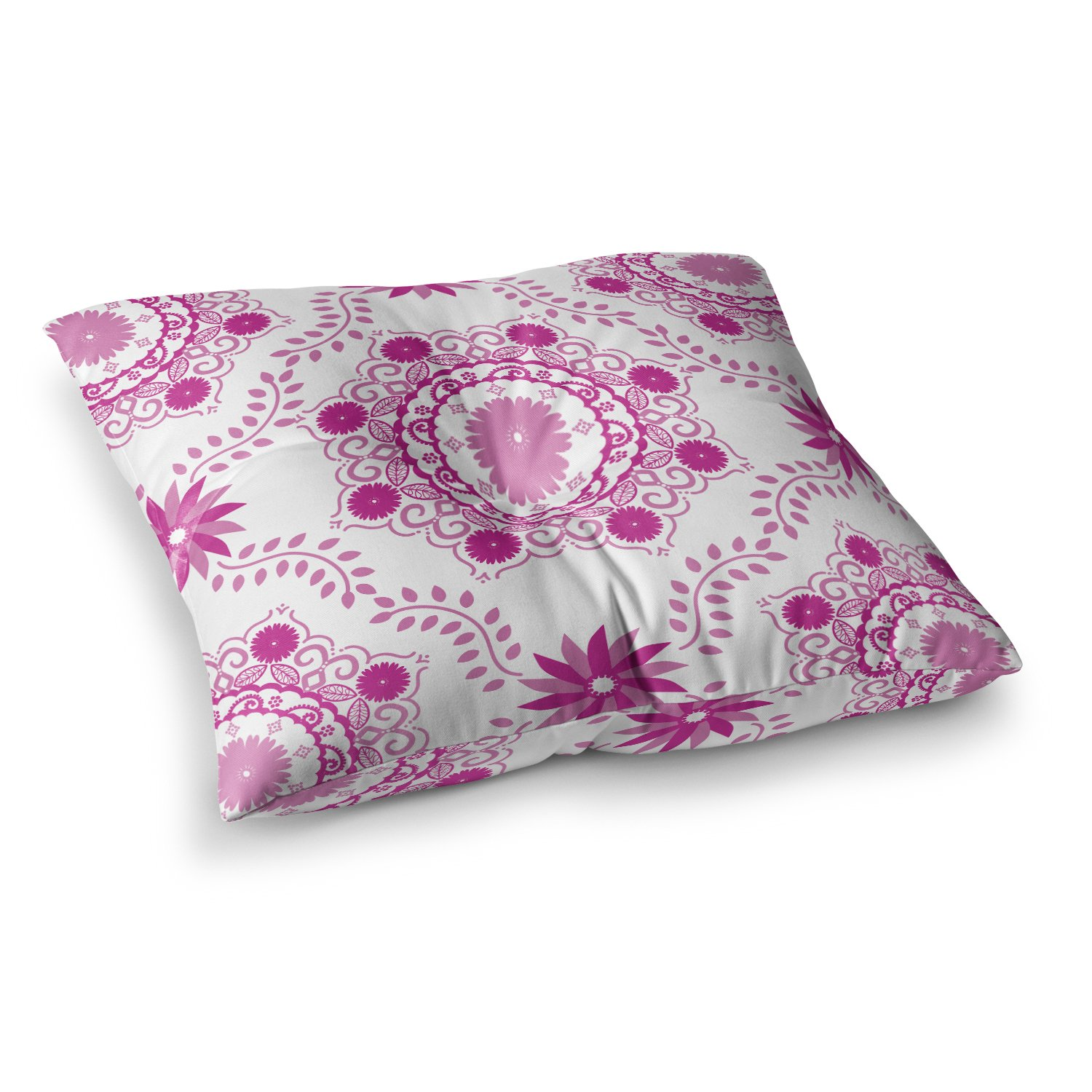 KESS InHouse Anneline Sophia Let's Dance Fuschia Pink Floral Square Floor Pillow x 23''