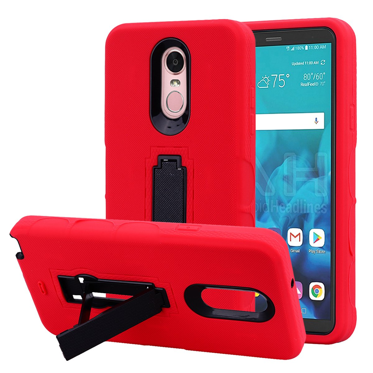 LG Stylo 4 Case, Binguowang Hybrid Heavy Duty Shockproof 3 in 1 design[Hard Plastic+Soft Silicone] Armor Defender Full-body Protective Case Cover with Kickstand for LG Stylo 4 2018. (Red/Black)