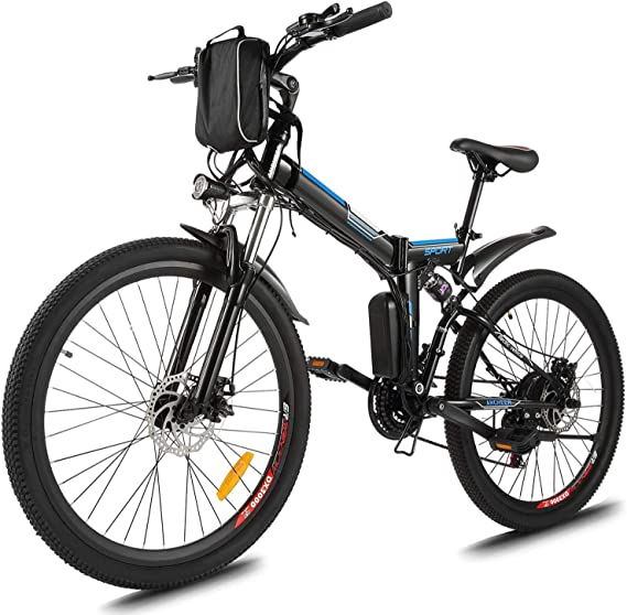 """Plohee 26"""" Folding Electric Mountain Bike for Adult Electric Bicycle with Removable 36V/8Ah Lithium-Ion Battery, 21 Speed Gear and Three Working Modes"""
