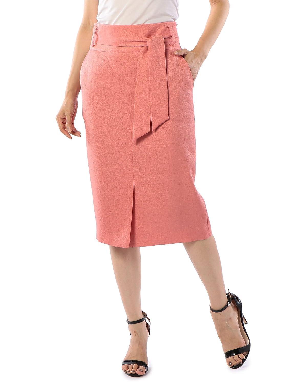 (ノーリーズ ソフィー) NOLLEY'S sophi 麻調ツイルタイトスカート[With掲載] 8-0030-3-06-007 B07DMF9L8K 38 ベビーピンク ベビーピンク 38