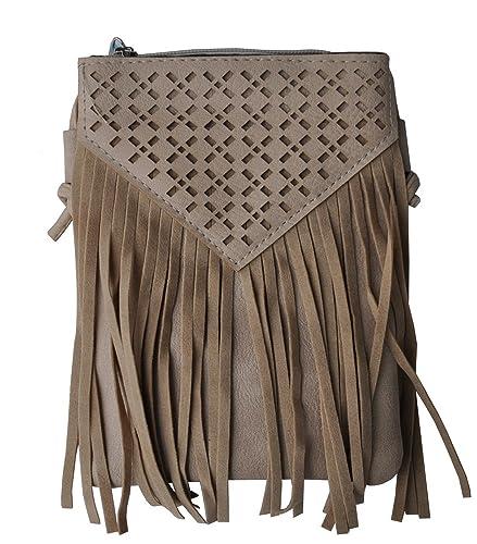 Alpin Trachten Damen Handtasche Fransen Cutout Muster 024 Beige
