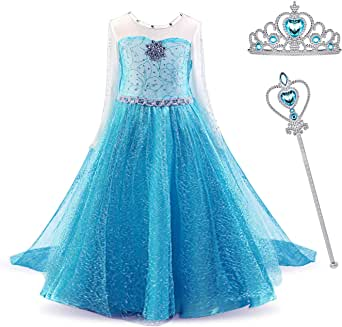 MYZLS Elsa Princess Girls Dress Snow Queen Dress Up for Carnival Party Cosplay
