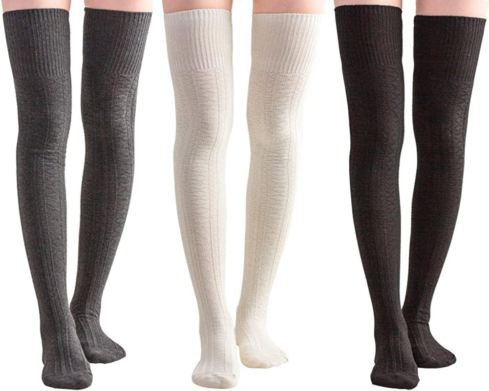 "GRAY Combed Cotton Over Knee//Thigh High Socks For 5/'4/""-5/'7/"" Medium"