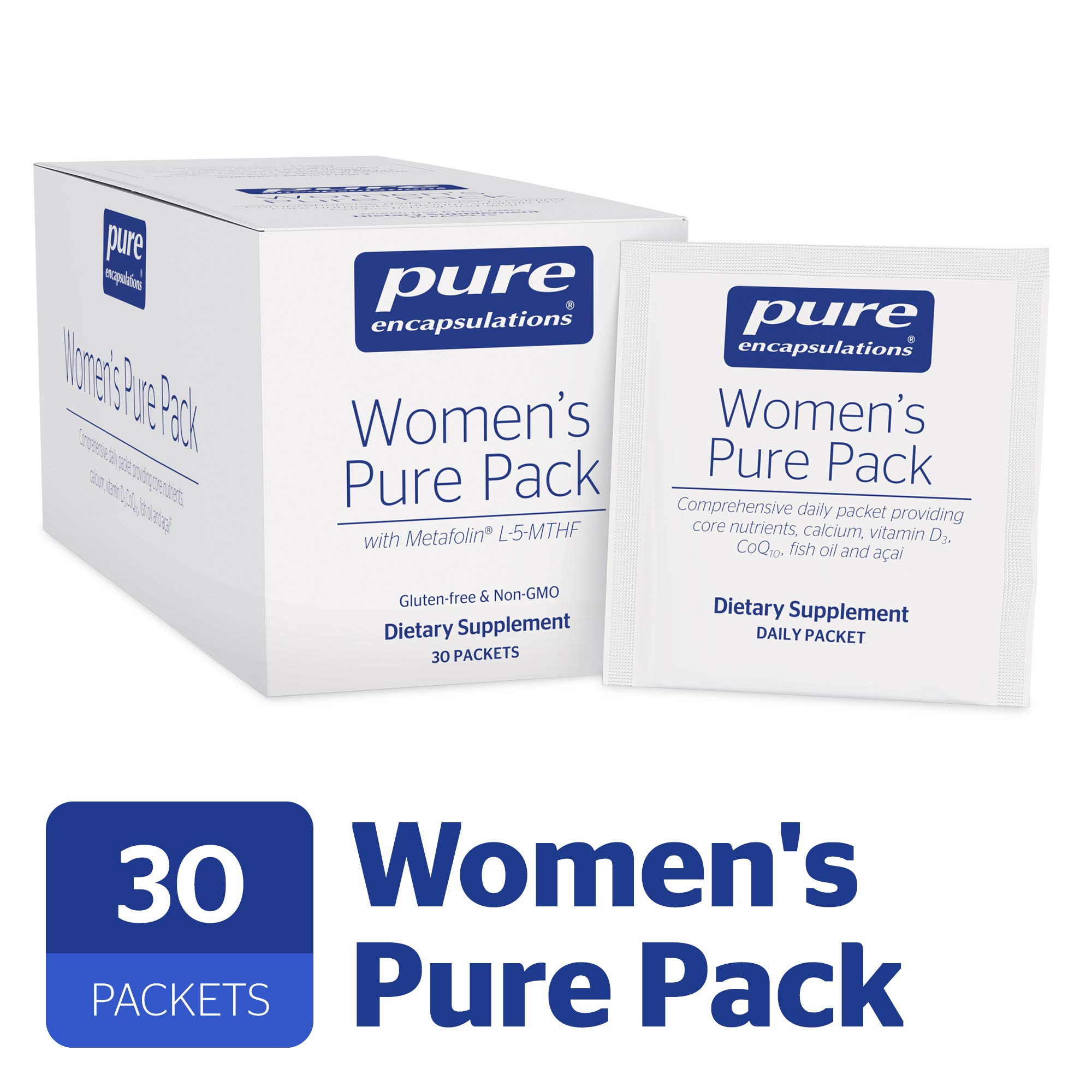 Pure Encapsulations - Women's Pure Pack - Hypoallergenic Multi-Vitamin/Mineral Complex with Omega-3 Fatty Acids, CoQ10, and Antioxidant Support* - 30 Packets