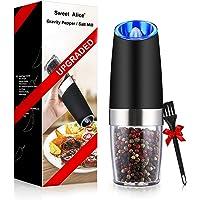 Molinillo de pimienta eléctrico Gravity, molinillo de sal o pimienta y grosor ajustable, funciona con pilas con luz LED…