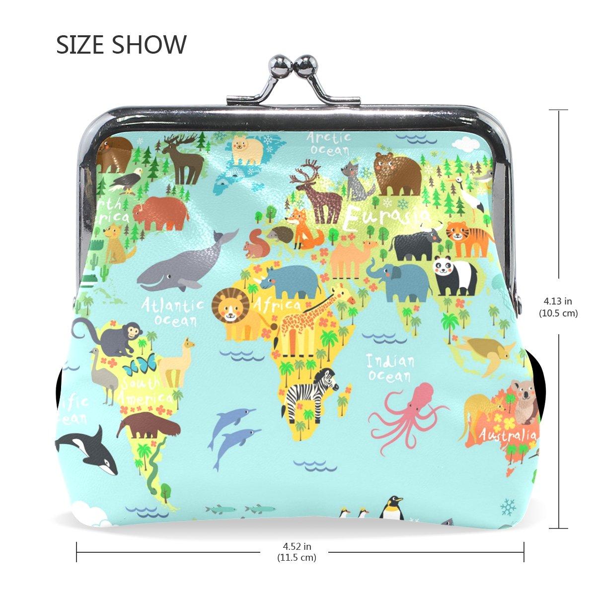 Amazon.com: ahomy Mapa del Mundo Animal del Bosque Océano PU ...