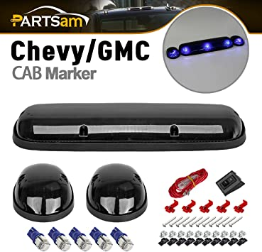 Amazon Com Partsam 3x Smoke Top Roof Cab Marker Lights 2825 5050 Blue T10 Led Light Bulbs Compatible With Silverado Sierra 1500 1500hd 2500 2500hd 3500 2002 2007 Truck Automotive