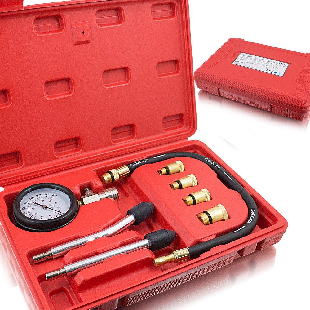 bituxx® Testeur de compression moteur à essence kompressionstester Testeur Mesureur Roue compatible pour toutes les voitures, 0–20bar/0–300psi 0-20bar/0-300psi MS-Point