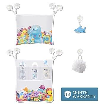 Baby Badespielzeug Aufbewahrung 2 X Dual Haken Mesh Bad Spielzeug