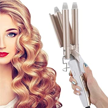Curly Curling Iron 3 Barrels Large Curling Iron Quick Heating Large Wave Hair Styling Tool Curler Hair Styling Tool For Long Short Hair No Damage To Hair Large Wave Curls Amazon Co Uk Beauty