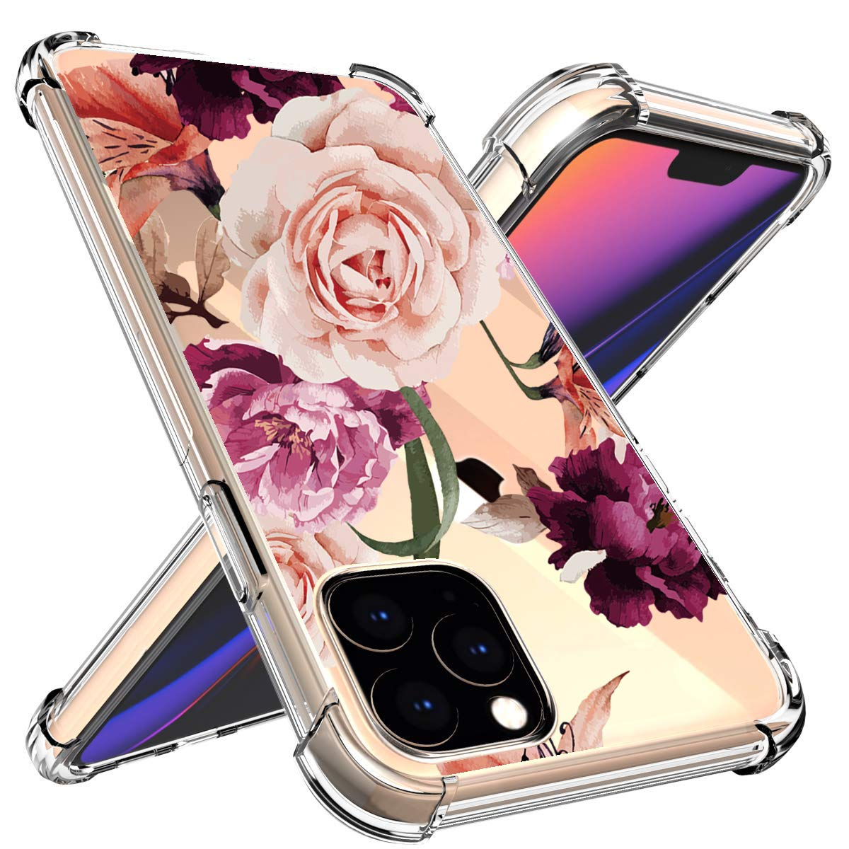 Floral for iPhone XIR 5G Case Flowers, iPhone XIR (6.1 inch) Case,Cute Flower for Girls/Women Slim Soft Silicone TPU Phone Case (11) by 54lany