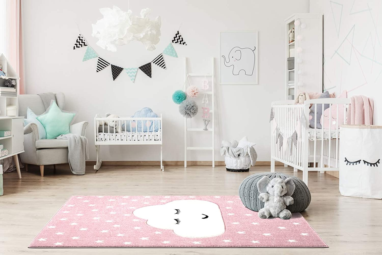 Livone Kinderzimmer Baby Kinderteppich Wolke Sterne in rosa Weiss 100 x 150 cm
