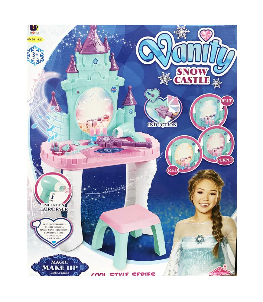 Kids Vanity Table & Chair Beauty Play Set w/Fashion Makeup Accessories for Girls by MTT