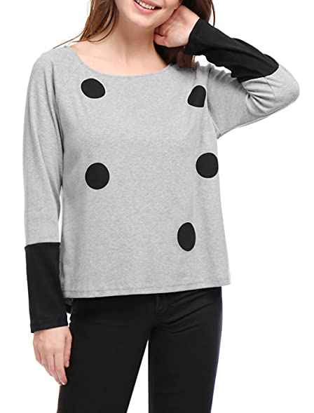 Allegra K Women Polka Dot Print Color Block Raglan Sleeves Top XS Grey