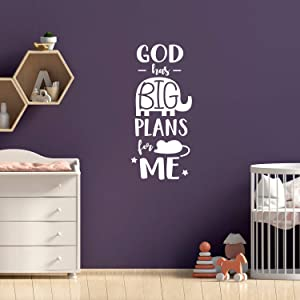 """Vinyl Wall Art Decal - God Has Big Plans for Me - 40"""" x 16.5"""" - Trendy Motivational Cute Good Vibes Quote Sticker for Home Bedroom Kids Room Playroom Nursery Daycare School Classroom Decor (White)"""